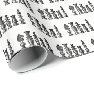 Chess Pieces Vintage Art Wrapping Paper