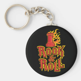 Chess Rook & Roll Basic Round Button Key Ring