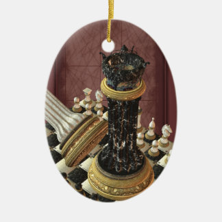 Chess Set Personalized Oval Ornament