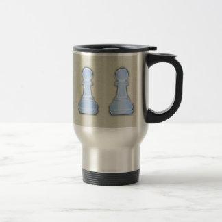Chess Shiny Blue Glass Chess Pawn Coffee Mugs