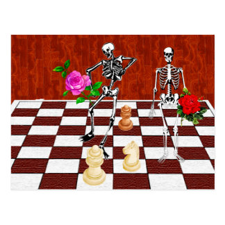 Chess Skeletons Postcard