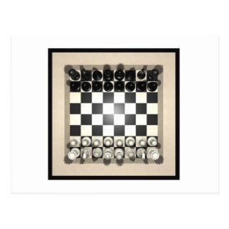 Chessboard and Chess Pieces: Postcard