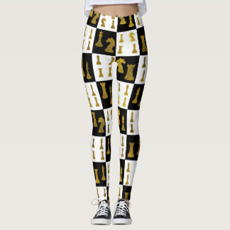 Chessboard and Gold Chess Pieces pattern Leggings