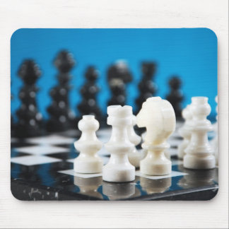 Chessboard and pieces print mousepad