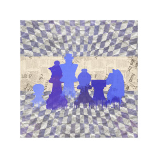 Chessboard and Watercolor Chess Pieces Canvas Print