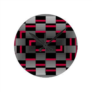 Chessboard Neon Red City Urban Design Round Clock