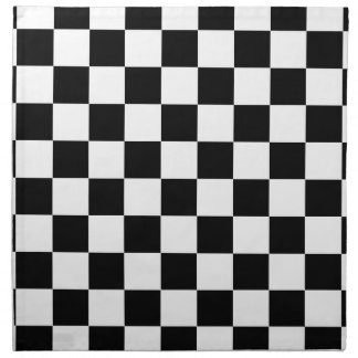 chessboard pattern black and white napkin