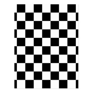 chessboard pattern black and white postcard