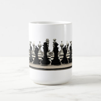 Chessboard with Chess Pieces: Basic White Mug