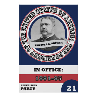 Chester A. Arthur Presidential History Retro Poster