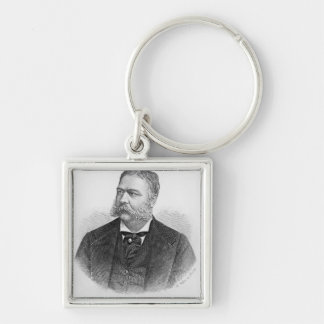 Chester Alan Arthur , engraved by A. Weger Silver-Colored Square Key Ring