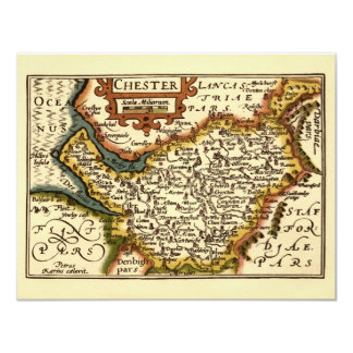 """""""Chester"""" Cheshire, County Map, England 11 Cm X 14 Cm Invitation Card"""