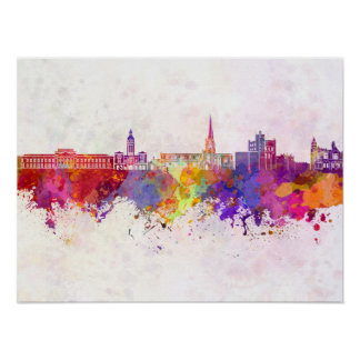 Chesterfield skyline in watercolor background poster