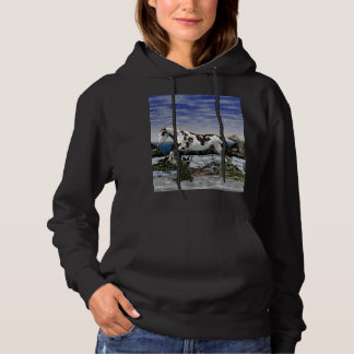 Chestnut and White Paint Horse in Snow Hoodie