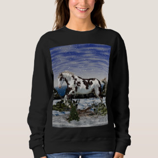 Chestnut and White Paint Horse in Snow Sweatshirt