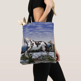 Chestnut and White Paint Horse in Snow Tote Bag