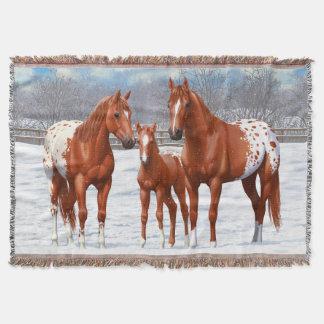 Chestnut Appaloosa Horses In Snow Throw Blanket