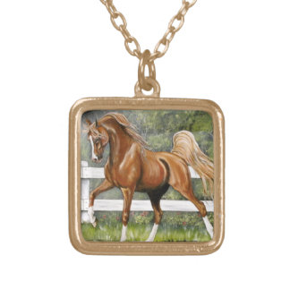 Chestnut Arabian Horse Running Square Pendant Necklace
