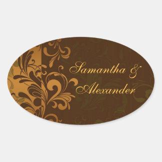 Chestnut Brown/Gold/Green Swirl Envelope Seal or Oval Sticker