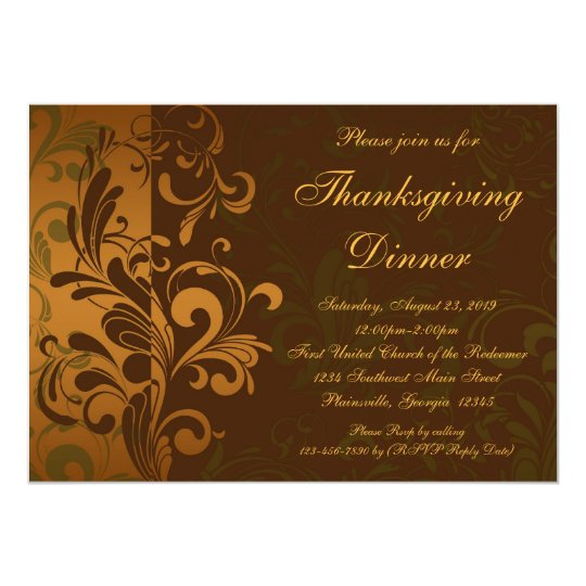 Chestnut Brown Swirl Thanksgiving Dinner Card