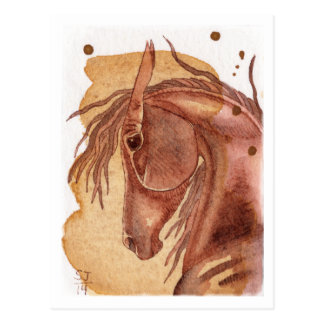 Chestnut Horse On Gold Watercolor Wash Post Card