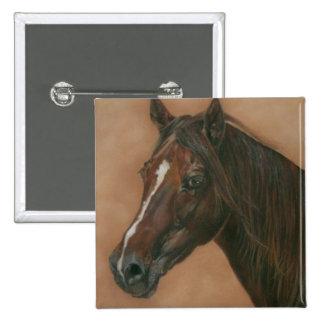 Chestnut mare horse portrait equine art painting 15 cm square badge