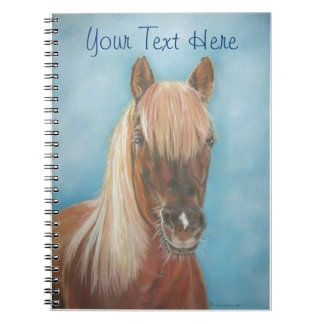 chestnut mare with blonde mane equine art horse spiral notebook