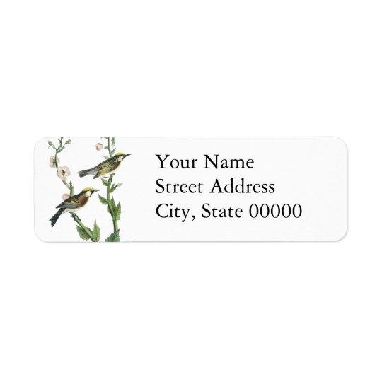 Chestnut-sided Warbler, John Audubon Return Address Label