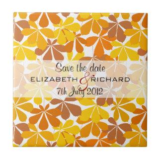 Chestnut tree Autumn Save the date Tile
