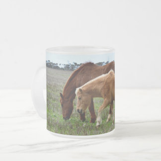 Chestnut Winter Woolly Horses, Frosted Glass Coffee Mug