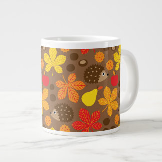 Chestnuts & Hedgehog Seamless Pattern Large Coffee Mug