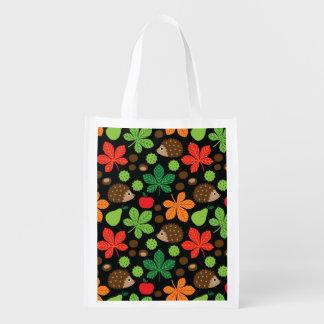 Chestnuts & Hedgehog Seamless Pattern Reusable Grocery Bag