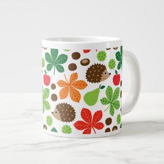 Chestnuts & Hedgehog seamless pattern (ver.1) Large Coffee Mug
