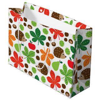 Chestnuts & Hedgehog seamless pattern (ver.1) Large Gift Bag
