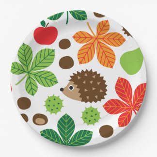 Chestnuts & Hedgehog seamless pattern (ver.1) Paper Plate