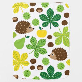 Chestnuts & Hedgehog seamless pattern (ver.5) Baby Blanket