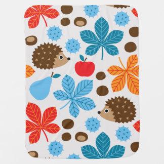 Chestnuts & Hedgehog seamless pattern (ver.7) Baby Blanket