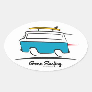 Chevrolet Corvair Greenbrier Gone Surfing Oval Sticker