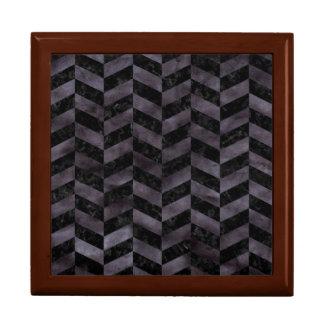 CHEVRON1 BLACK MARBLE & BLACK WATERCOLOR GIFT BOX