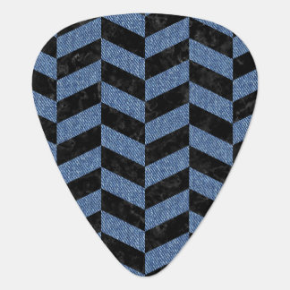 CHEVRON1 BLACK MARBLE & BLUE DENIM GUITAR PICK