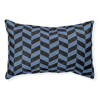 CHEVRON1 BLACK MARBLE & BLUE DENIM PET BED