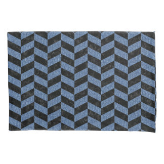 CHEVRON1 BLACK MARBLE & BLUE DENIM PILLOWCASE