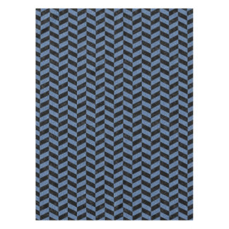 CHEVRON1 BLACK MARBLE & BLUE DENIM TABLECLOTH