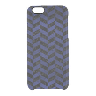 CHEVRON1 BLACK MARBLE & BLUE LEATHER CLEAR iPhone 6/6S CASE