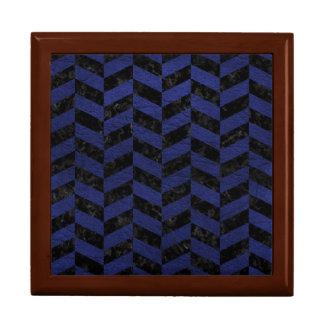 CHEVRON1 BLACK MARBLE & BLUE LEATHER GIFT BOX