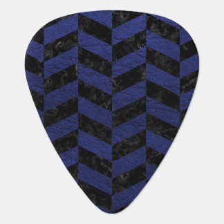 CHEVRON1 BLACK MARBLE & BLUE LEATHER GUITAR PICK