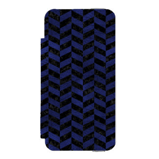 CHEVRON1 BLACK MARBLE & BLUE LEATHER INCIPIO WATSON™ iPhone 5 WALLET CASE