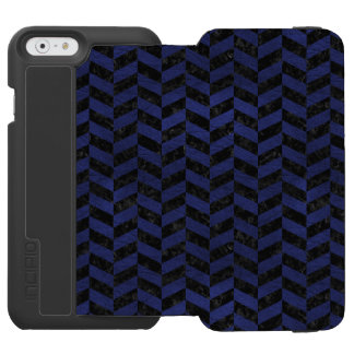 CHEVRON1 BLACK MARBLE & BLUE LEATHER INCIPIO WATSON™ iPhone 6 WALLET CASE