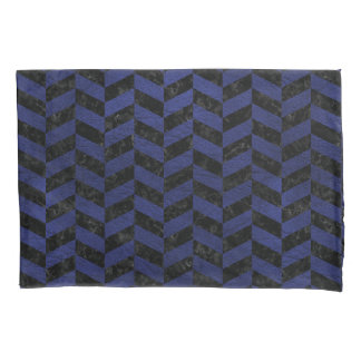 CHEVRON1 BLACK MARBLE & BLUE LEATHER PILLOWCASE