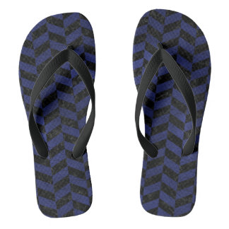 CHEVRON1 BLACK MARBLE & BLUE LEATHER THONGS